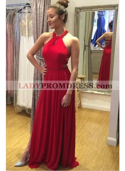 Elegant A Line Red 2020 Halter Backless Side Slit Long Chiffon Prom Dresses