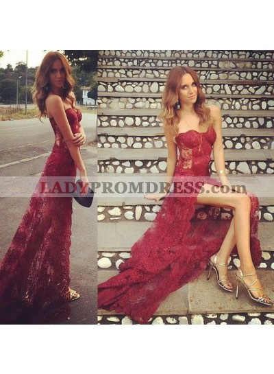 Charming Sheath Sweetheart Side Slit See Trough Lace Long Burgundy Prom Dresses 2020