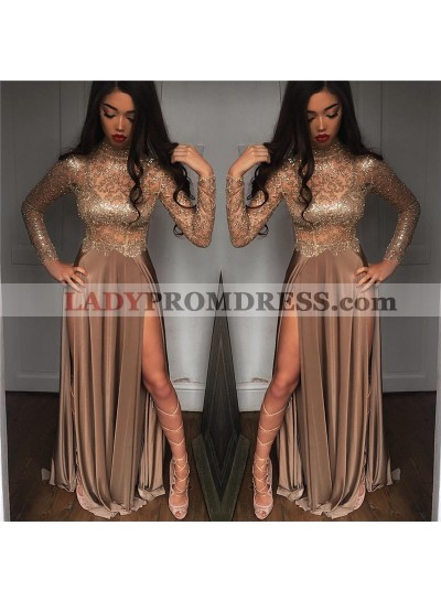 Sexy A Line Elastic Satin Champagne Long Sleeves See Through High Neck Side Slit Long Prom Dresses 2020