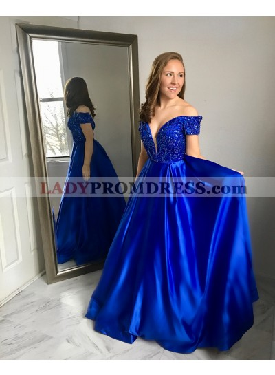 2020 Elegant A Line Satin Off Shoulder Sweetheart Beaded Long Royal Blue Prom Dresses