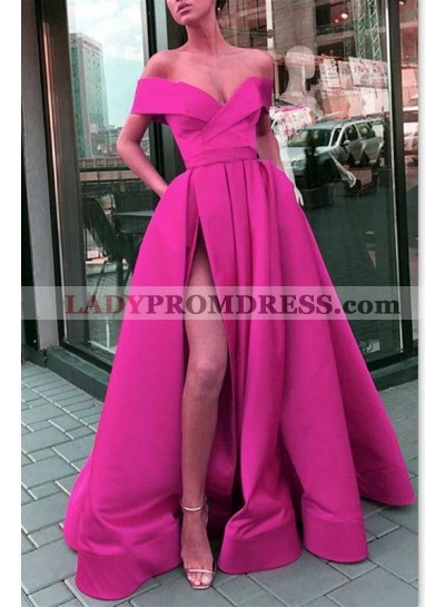 Hot Sale 2020 A Line Satin Side Slit Off Shoulder Sweetheart Fuchsia Prom Dresses