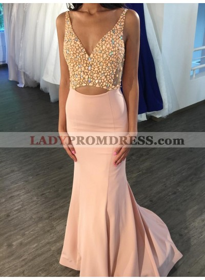 2021 Newly Mermaid Satin V Neck Blushing Pink Hollow Out Backless Prom Dresses