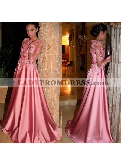 Elegant A Line Elastic Satin Pink Long Sleeves Prom Dresses With Appliques Prom Dresses
