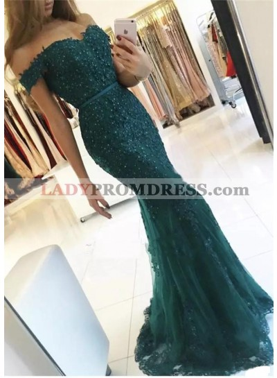 2021 New Arrival Dark Green Off Shoulder Short Sleeves Sweetheart Tulle Mermaid Appliques Prom Dresses