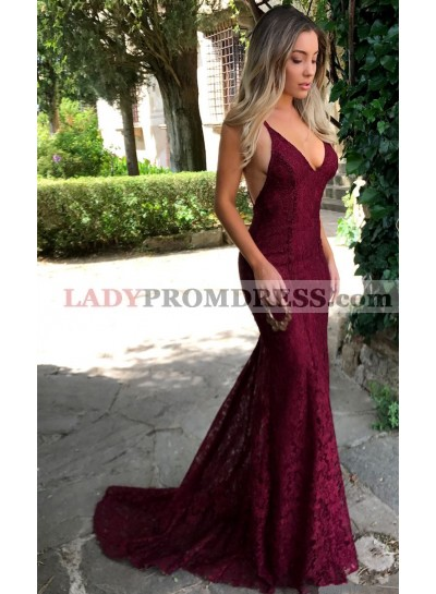 Sexy Burgundy Mermaid V Neck Backless Lace Prom Dresses 2021