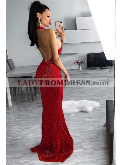 Sexy Red Sheath Halter Backless Sequence Long Prom Dresses 2021