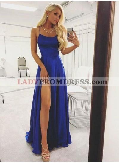 2021 Newly A Line Side Slit Royal Blue Halter Backless Prom Dresses