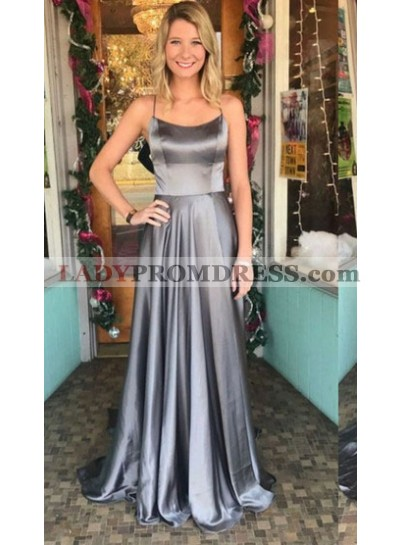 2020 Cheap A Line Elastic Satin Halter Lace Up Back Gray Long Prom Dresses