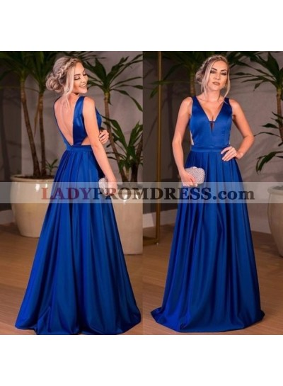 Elegant A Line Satin Royal Blue V Neck Backless Long 2021 Prom Dresses