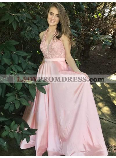 2021 Elegant A Line V Neck Halter Satin Pink With Appliques Backless Prom Dresses