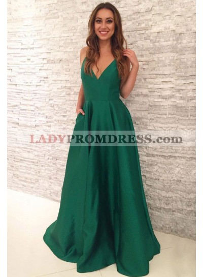 Cheap A Line Satin Emerald V Neck Backless Long Prom Dresses 2021