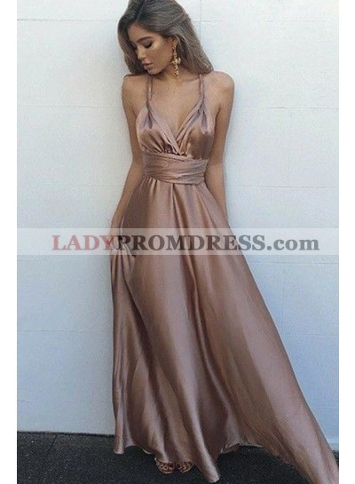 Cheap Sweetheart Elastic Satin Rose Gold Lace Up Halter A Line 2020 Backless Prom Dresses