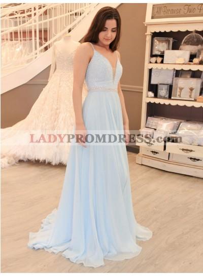 2021 Elegant A Line V Neck Light Sky Blue Chiffon Beaded Prom Dresses