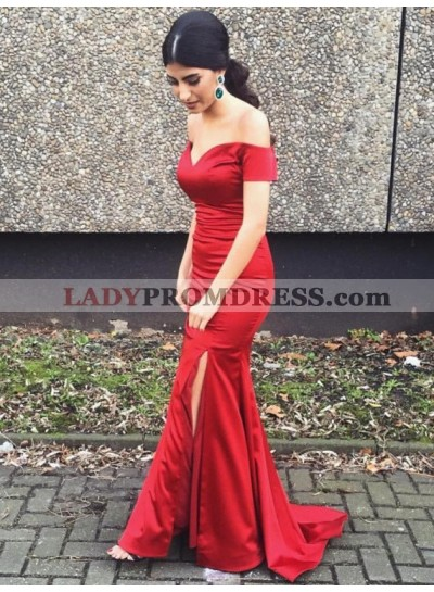 Sexy Sheath Red Off Shoulder Sweetheart Side Slit Long 2020 Prom Dresses