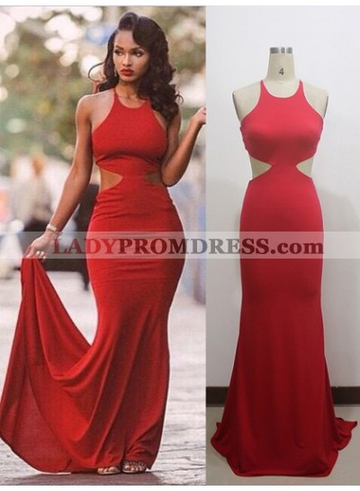 2021 Red Sheath Halter Lace Up Back Long Backless Prom Dresses