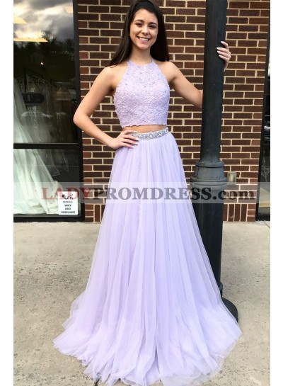2021 Elegant A Line Tulle Lilac Two Pieces Prom Dresses With Appliques