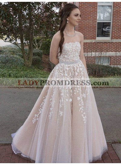 New Arrival A Line Strapless Tulle Champagne and White Appliques Long Prom Dresses 2020