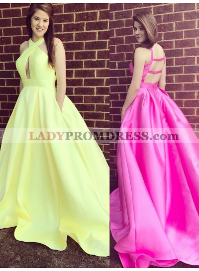 2020 Charming A Line Halter Hollow Out Backless Light Yellow Long Satin Prom Dresses