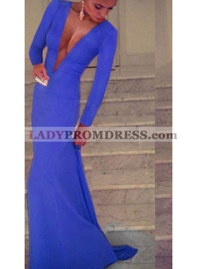 Charming Sheath Deep V Neck Long Sleeves Cheap Royal Blue Prom Dresses 2021