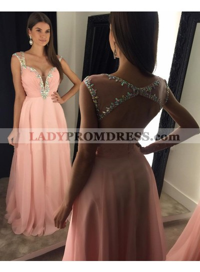 2020 Cheap A Line Chiffon Pink Sweetheart Beaded Backless Prom Dresses With Straps