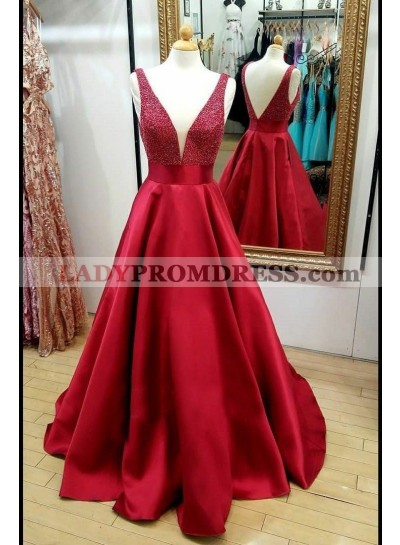 2021 Elegant A Line Satin Red Beaded V Neck Backless Long Prom Dresses