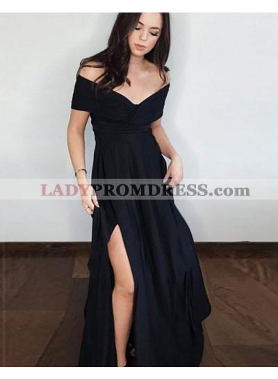 2021 New Arrival A Line Black Off Shoulder Side Slit Short Sleeves Prom Dresses