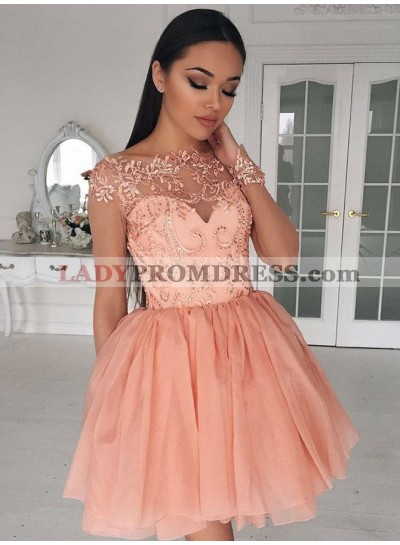 2021 Cheap Knee Length Coral A Line Long Sleeves Chiffon Short Prom Dress