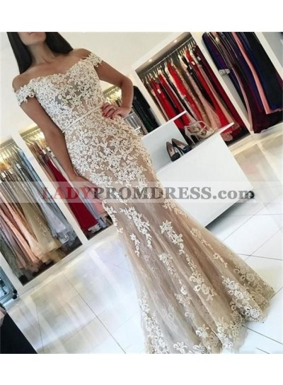 Amazing Mermaid Off Shoulder Sweetheart Tulle Champagne and White Appliques Long Prom Dress 2021