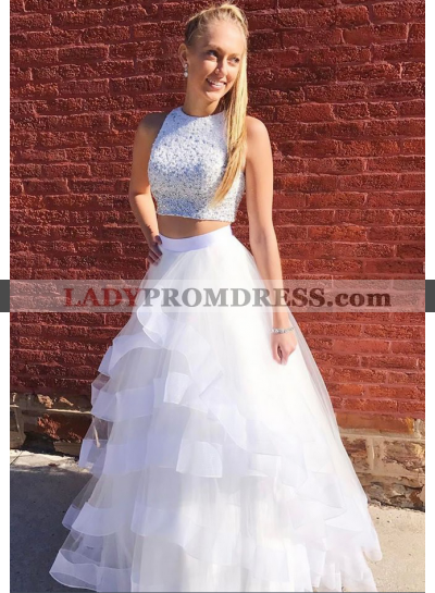 2020 New Arrival A Line White Tulle Ruffles Two Pieces Beaded Prom Dress
