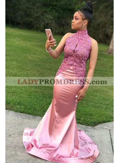2021 New Arrival Mermaid Pink Elastic Satin High Neck South African Long Prom Dress