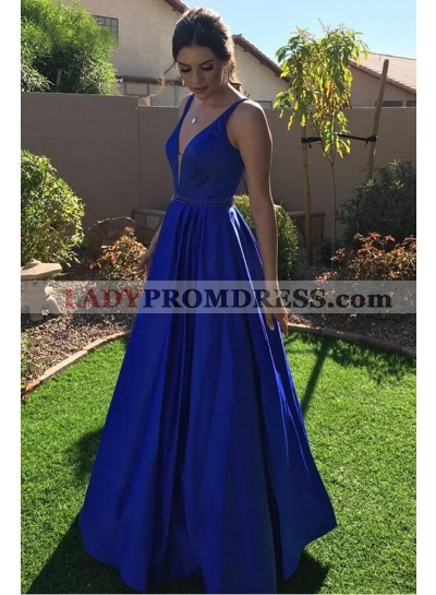 2021 Elegant A Line Satin Royal Blue V Neck Long Prom Dress