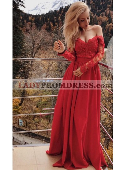 2020 Newly A Line Long Sleeves Red Sweetheart Satin Off Shoulder Long Lace Prom Dress