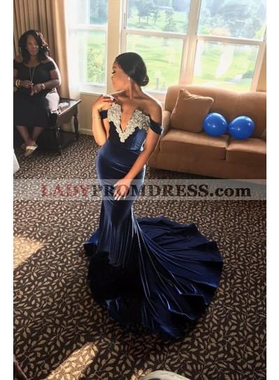 Charming Off Shoulder Mermaid Dark Navy Velvet Deep V Neck Long Prom Dress 2020