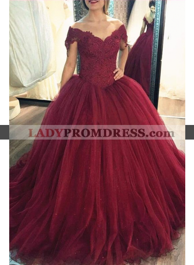 2021 New Arrival Tulle Burgundy Off Shoulder Sweetheart Lace Ball Gown Prom Dress