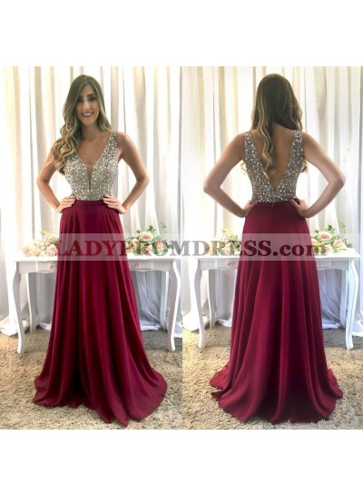 Elegant A Line V Neck Beaded Backless Burgundy Spandex 2021 Prom Dress