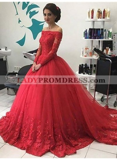 2021 Cheap Long Sleeves Tulle Off Shoulder Red Ball Gown Prom Dress