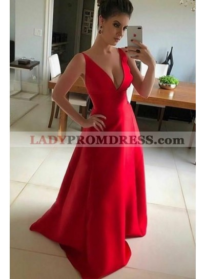 Cheap A Line Satin V Neck Red Long 2021 Prom Dress