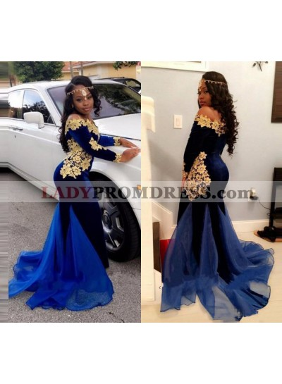 2020 Mermaid Royal Blue and Gold Appliques Velvet Long Sleeves Off Shoulder South African Long Prom Dress