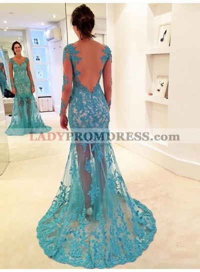 Newly Sheath Long Sleeves Lace Backless Sweetheart Tulle Blue Prom Dress 2020