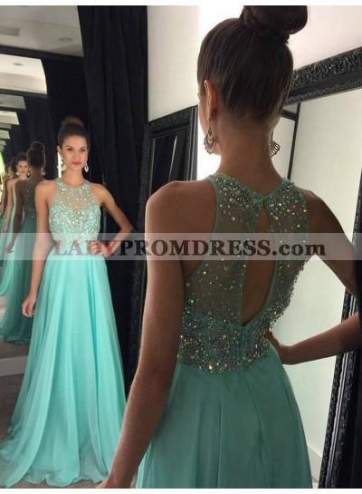 Cheap A Line Chiffon Beaded Key Hole Back Turquoise Long 2021 Prom Dress