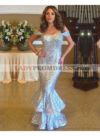 Sexy Mermaid Off Shoulder Sequence Long Silver Ruffles 2021 Prom Dress