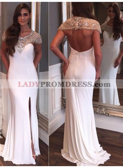 New Arrival Sheath White Backless Capped Sleeves Beaded Scoop Side Slit 2021 Prom Dress