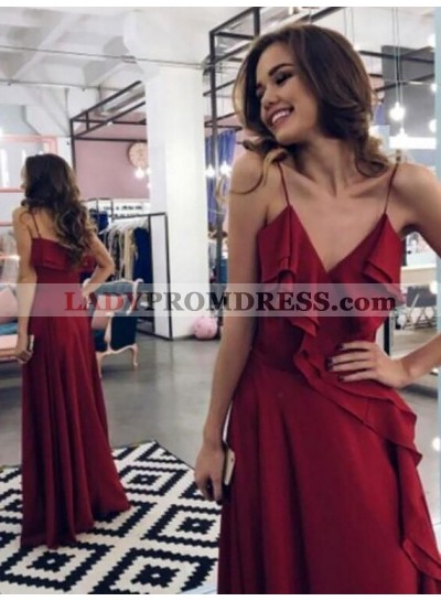 2020 Cheap A Line Burgundy Deep V Neck Elastic Satin Spaghetti Straps Ruffles Prom Dress
