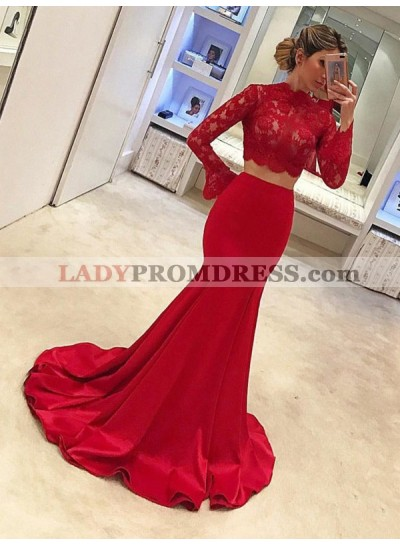 2020 New Arrival Mermaid Red Long Sleeves Lace Two Pieces Satin Prom Dress