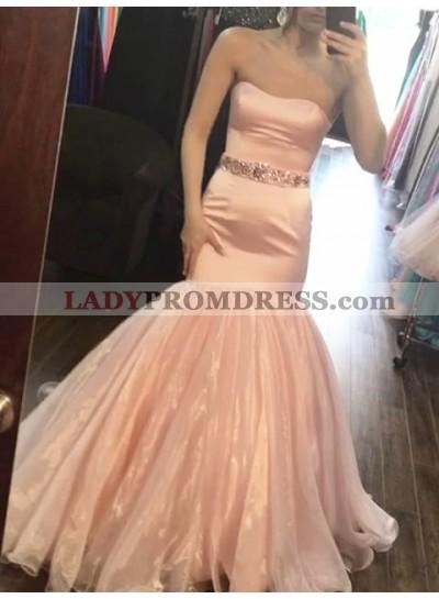 2021 New Arrival Mermaid Sweetheart Peach Satin Organza Long Prom Dress