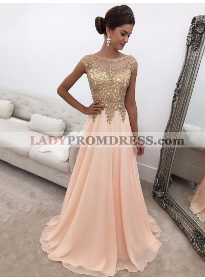 2020 New Designer A Line Chiffon Peach and Gold Appliques Scoop Prom Dress