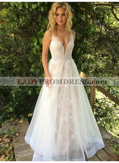 53d9948454 2019 Elegant A Line White Sweetheart Tulle Long Prom Dress With Appliques