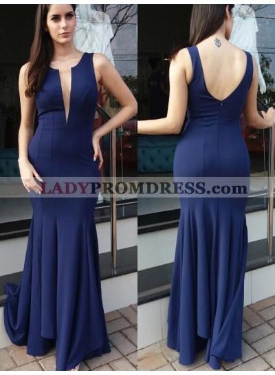 Amazing Dark Navy Mermaid V Neck Zipper Back 2021 Long Prom Dress