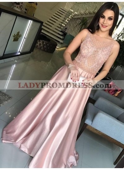 2021 New Designer Elastic Satin A Line Pink See Through Beaded Prom Dress