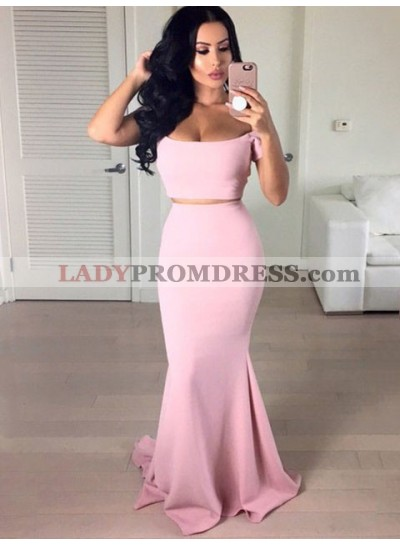 Charming Mermaid Satin Blush Pink Two Pieces Off Shoulder Prom Dress
